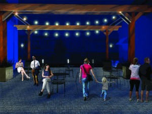 Artist's rendition of how the Pitman Theatre Avenue project will look in the evening when it's completed. (Photo provided by Greater Pitman Chamber of Commerce)